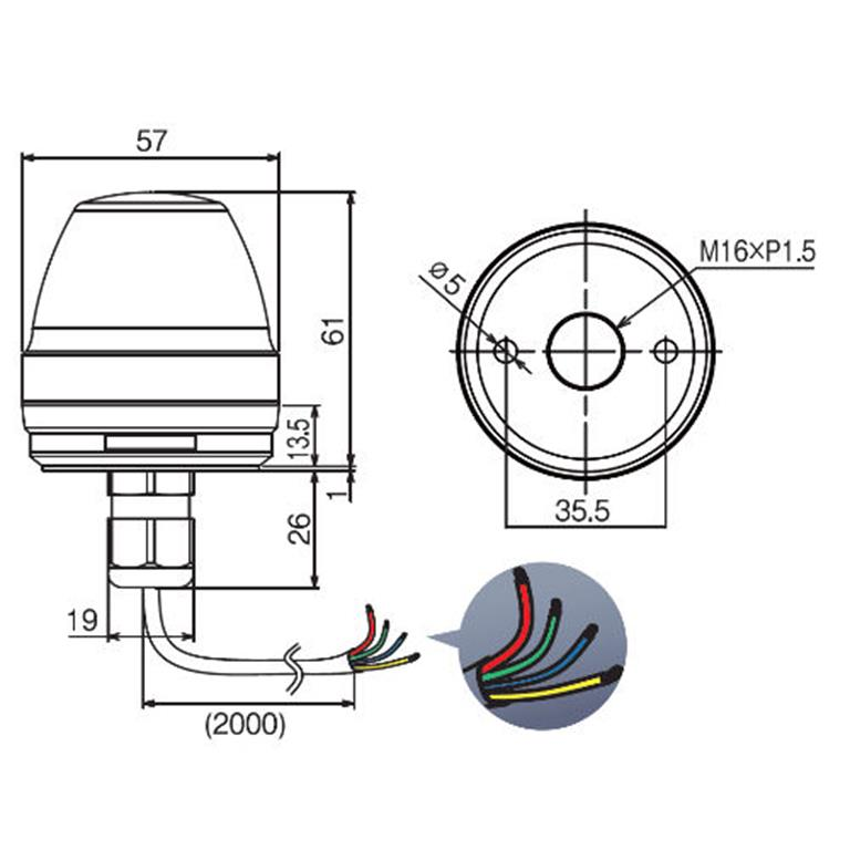 NE 57mm Multi-Colour Signal Light Wiring