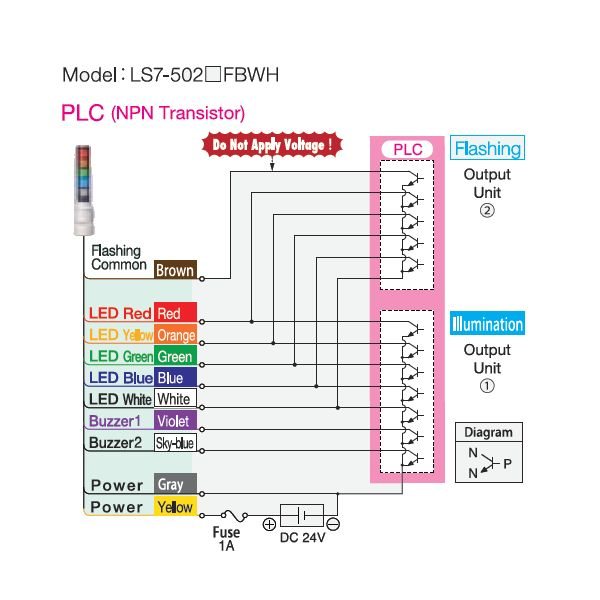 patlite wiring diagram wiring library diagram z2smooth body stack light 70mm signal light tower andon signal light intermittent motion diagram patlite wiring diagram